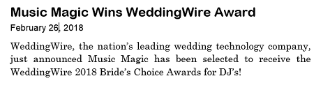 Winner, 2018 WeddingWire Bride's Choice Award